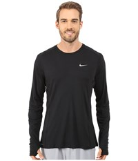 Nike Dri Fit Miler L S Shirt Black Reflective Silver Men's Workout