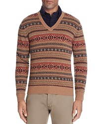 Brooks Brothers Lambswool Fair Isle V Neck Sweater Brown