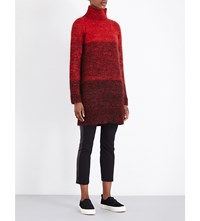 Rag And Bone Melina Flecked Turtleneck Knitted Dress Fiery Red