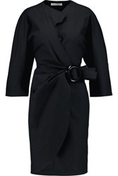 J.W.Anderson Cotton Blend Mini Wrap Dress Navy