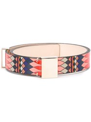 Paul Smith Geometric Print Belt Red