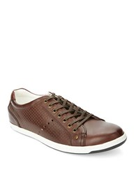 Kenneth Cole Reaction Range R Danger Leather Lace Up Sneakers Brown