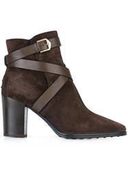 Tod's Strapped Ankle Boots Brown