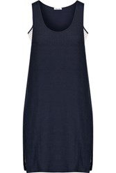 Splendid Layered Striped Stretch Jersey Dress Navy