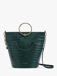 Ted Baker Ashher Leather Bucket Bag Dark Green