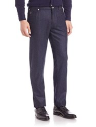 Brunello Cucinelli Chalk Striped Wool Pants Navy