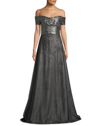 Rene Ruiz Metallic Off The Shoulder Ball Gown Gray