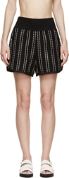 Sacai Luck Black And Navy Boucl Striped Shorts
