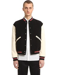 Our Legacy Leather And Wool Cloth Bomber Jacket