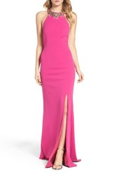 Adrianna Papell Women's Embellished Halter Gown