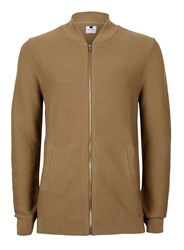 Topman Brown Tan Ribbed Knitted Bomber Jacket