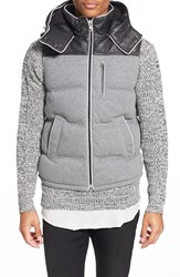 Men's Azul By Moussy Quilted Puffer Vest With Removable Hood Grey