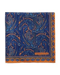 Turnbull And Asser Ornate Paisley Pocket Square Gold
