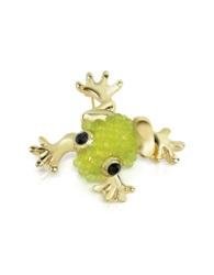 A Z Collection Light Green Frog Brooch Gold