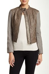 Bnci By Blanc Noir Canvas Sleeve Faux Leather Motor Jacket Gray