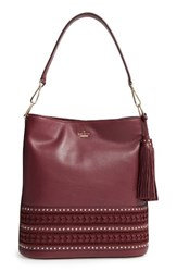 Kate Spade New York Basset Lane Cobie Leather Tote Burgundy Cherry Wood