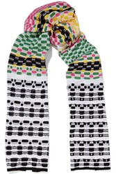 M Missoni Cotton Blend Crochet Knit Scarf Multi