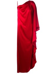 Gianluca Capannolo Silky One Shoulder Gown Women Polyester Triacetate 44 Red