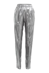 Vionnet Silk Lame Tapered Pants Silver