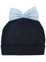 Federica Moretti 'Denim Bow Detail' Beanie Blue