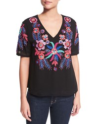 Antik Batik Cali Short Sleeve Embellished Tee Black