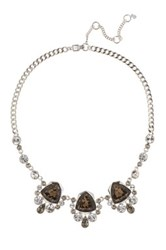 Givenchy Crystal Drama Frontal Necklace Metallic