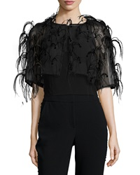 Sachin And Babi Noir Short Sleeve Cropped Bolero W Feathers
