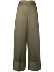 Semicouture High Waisted Wide Leg Trousers Green