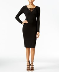 Fire Juniors' Lace Up Bodycon Dress Black
