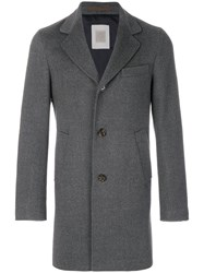 Eleventy Single Breasted Coat Cupro Wool Grey