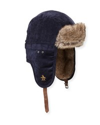 Penguin Corduroy Faux Fur Trapper Hat Navy