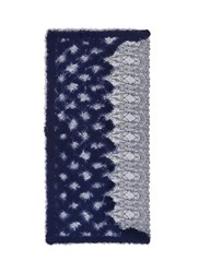 Franco Ferrari Needle Punch Diamond Lace Scarf Blue
