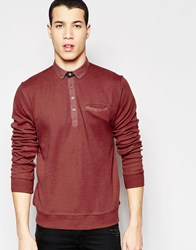 Bellfield Long Sleeved Polo Shirt Red