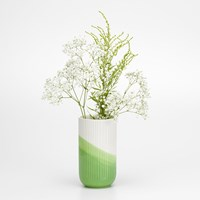 Vitra Herringbone Ribbed Vase Green