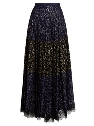 Saloni Karen Pleated Lace Skirt Navy Multi