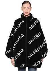 Balenciaga Logo Printed Zip Up Faux Fur Jacket Black