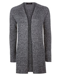 Jaeger Wool Ribbed Split Hem Cardigan Grey