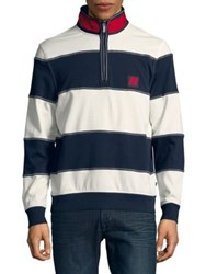 Nautica Wide Stripe Quarter Zip Pullover Marshmallow