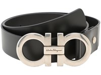 Salvatore Ferragamo Adjustable Belt Black Calf Palladium Buckle Men's Belts