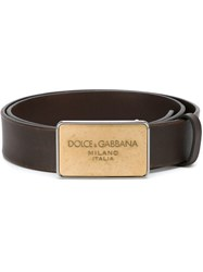 Dolce And Gabbana Logo Plaque Belt Brown