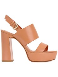 Santoni Open Toe Buckle Sandals Nude Neutrals