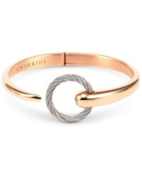 Charriol White Topaz Two Tone Bangle Bracelet 1 5 Ct. T.W. In Stainless Steel And 14K Rose Gold Plated Stainless Steel Pvd