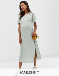 New Look Maternity Dress With Split In Green