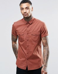 Asos Rust Twill Shirt With 2 Pockets And Heavy Wash Rust Tan