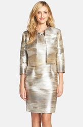 Tahari Blurred Jacquard Sheath And Jacket Silver Gold