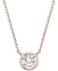 Macy's Cubic Zirconia Bezel Set Pendant Necklace In Rose Gold Plated Sterling Silver No Color