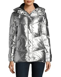 Vince Camuto Silver Hooded Puffer Jacket Black