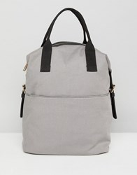 Asos Zip Over Canvas Backpack With Double Handle Grey