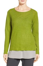 Eileen Fisher Women's Bateau Neck Organic Linen Sweater Green Grass