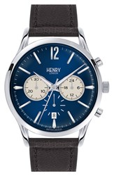 Men's Henry London 'Knightsbridge' Chronograph Leather Strap Watch 41Mm